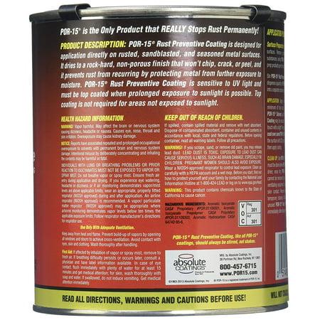 POR-15 45008 Gloss Black Rust Preventive Paint Coating Pint