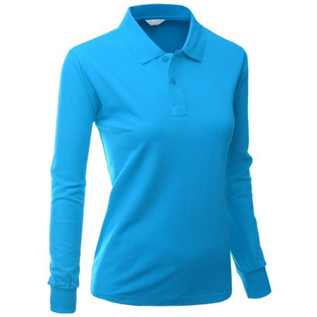 2a54861f5 FashionOutfit - FashionOutfit Women s Cotton Pk Silket Polo Dri Fit Long  Sleeve Collar T Shirt - Walmart.com