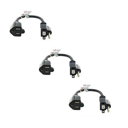 - MarginMart 1 Feet Outlet Saver Power Extension Cord NEMA 5-15R to NEMA 5-15P 3 Pack