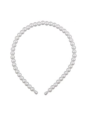 Unique Bargains Faux Pearl Accent Ivory Hair Band Hoop Headband for Girls