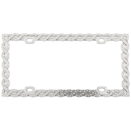 Auto Drive™ Chrome White Crystals Bling Braid License Plate Frame