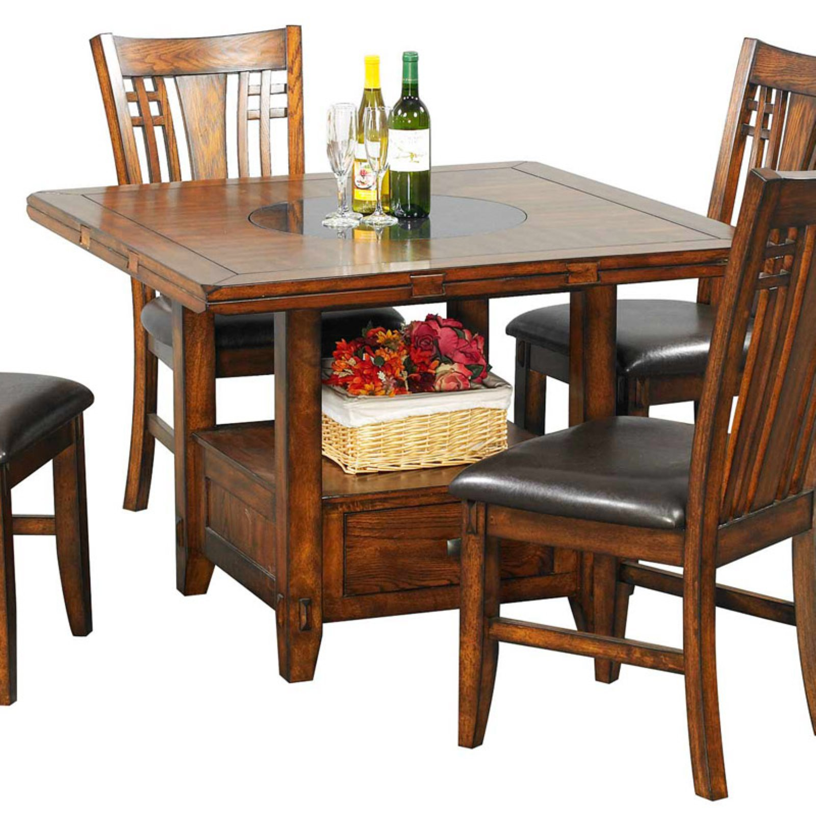 Winners Only Zahara Square Dining Table with Granite Lazy Susan