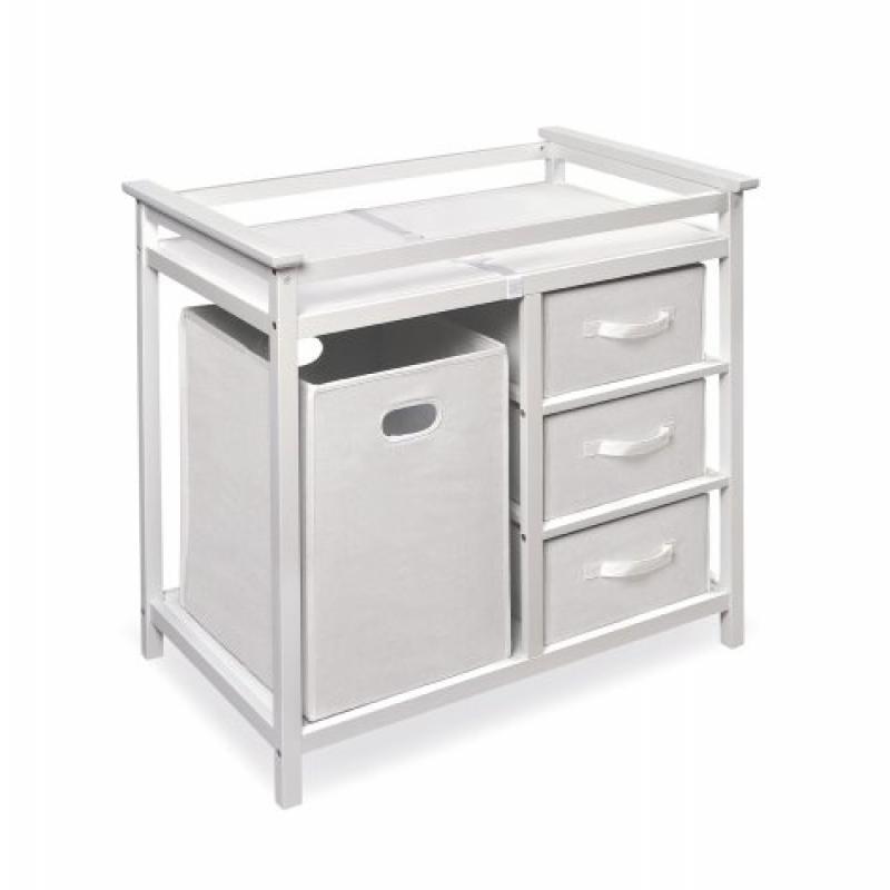 Badger Basket Modern Changing Table with 3 Baskets and Hamper, White by Badger Basket