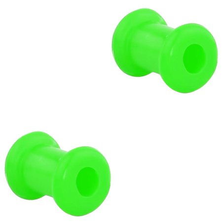 Set of 4G Ultra Soft Comfort Fit Silicone Ear Gauges, 4 Gauge 5mm Flat Double Flared Tunnel Plug Earrings