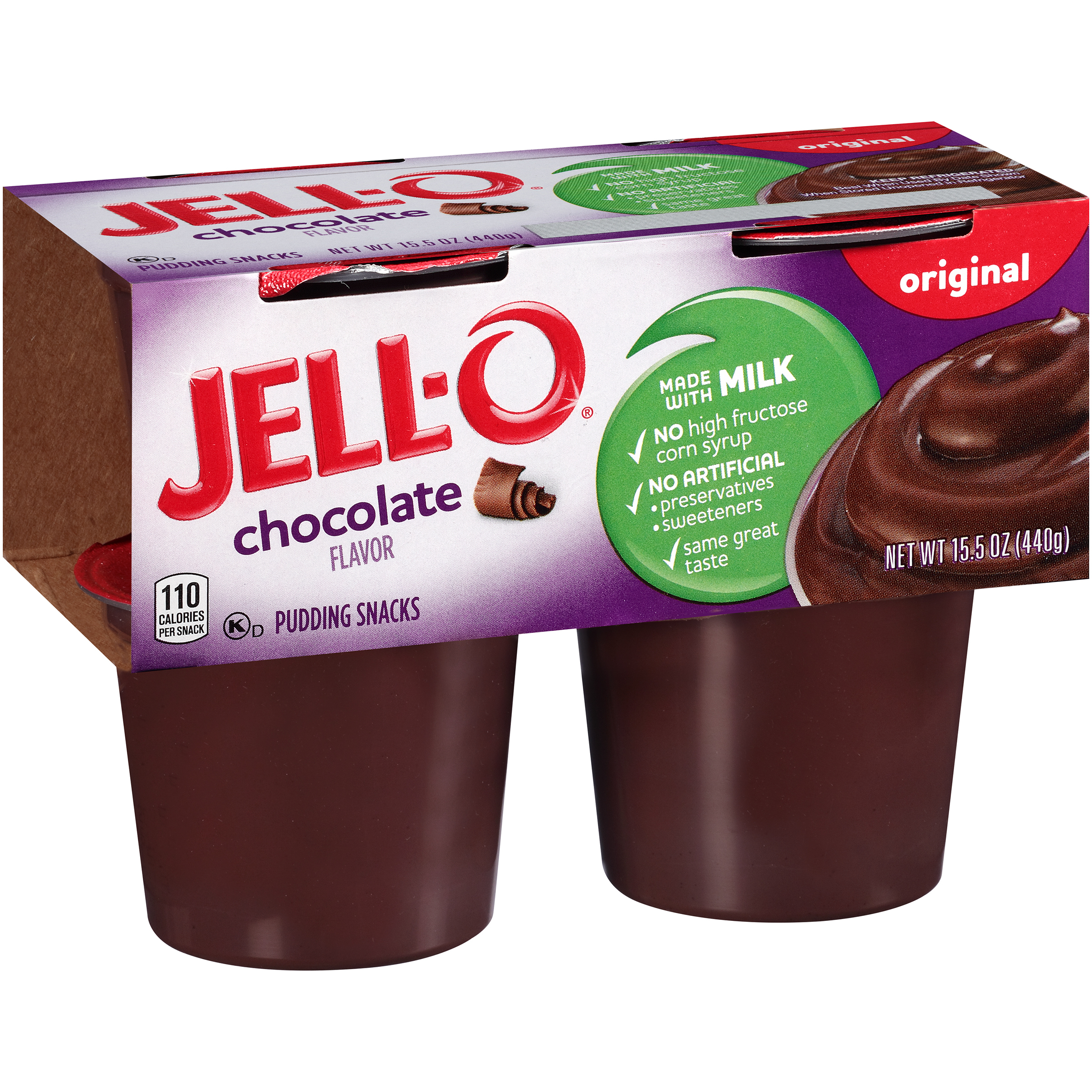 Jell-O Original Chocolate Pudding Snacks, 3.875 Oz., 4 Count