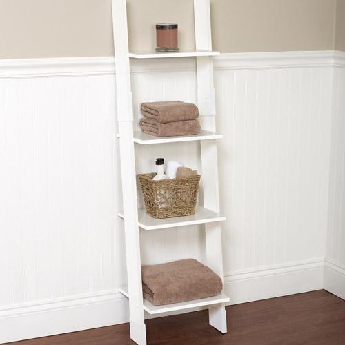 White Bathroom Linen Tower hawthorne bathroom wood ladder linen tower, white - walmart