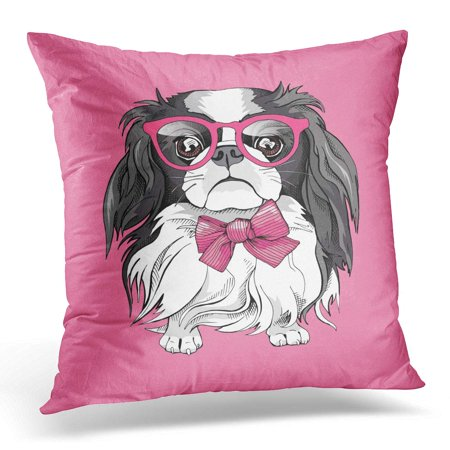 BOSDECO Black Cute Japanese Chin Dog in Glasses and Tie on Pink White Funny Pillowcase Pillow Cover Cushion Case 18x18 inch - image 1 de 1