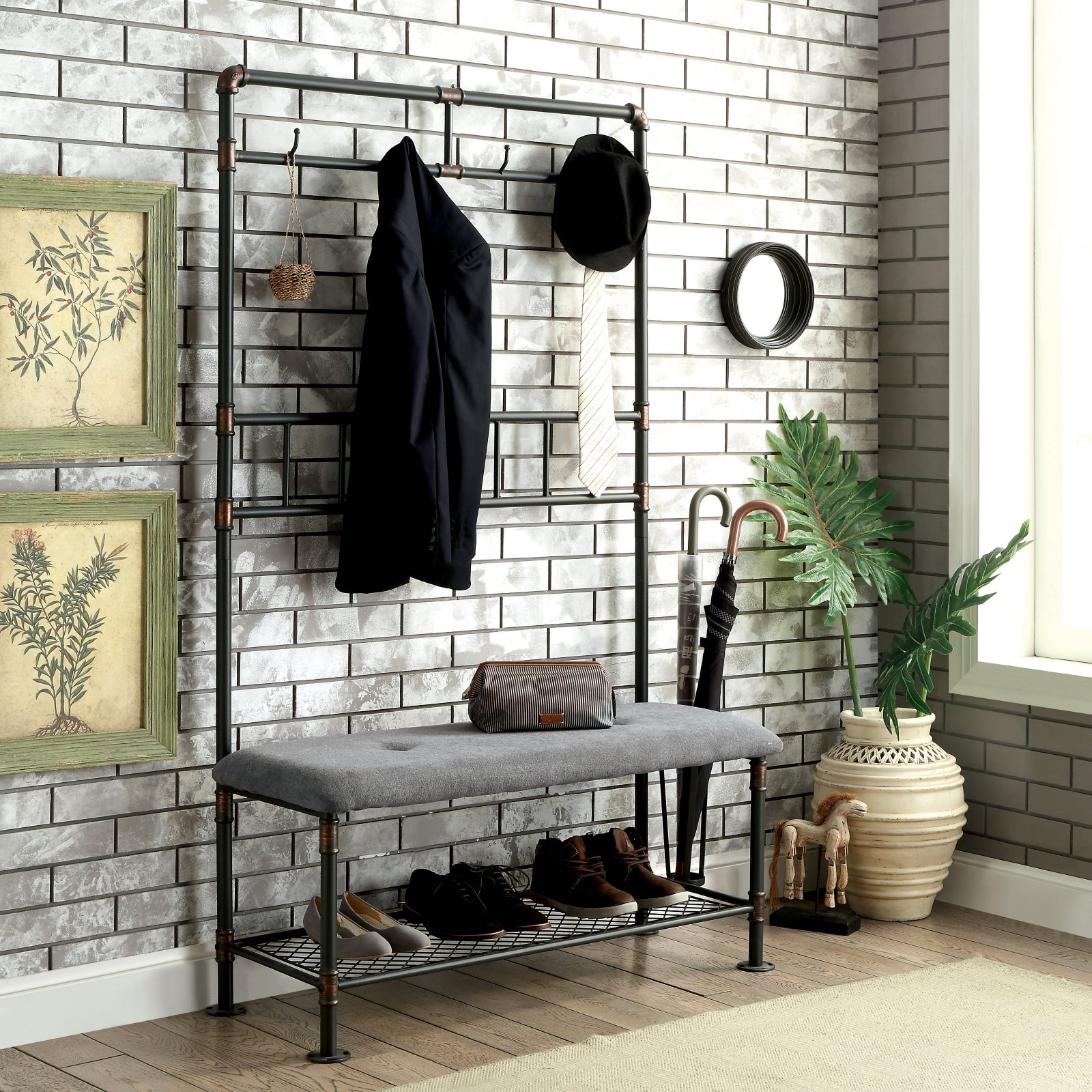 Furniture of America Akayla Industrial Style Large Coat Rack Bench