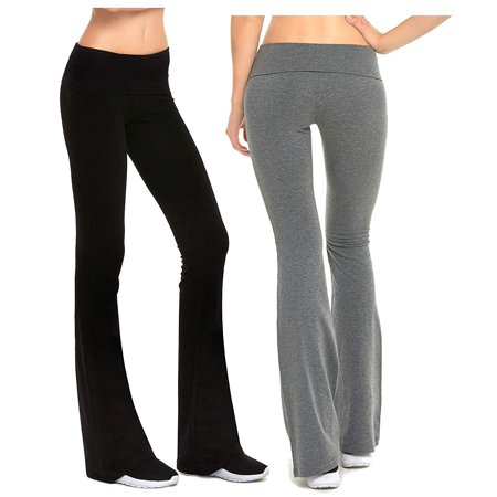 Gilbins Womens Fold-Over Waistband Stretchy Cotton Blend Yoga Pants with A Wide Flare Leg 2 Pack Womens Wide Waistband Pants
