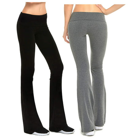 Gilbins Womens Fold-Over Waistband Stretchy Cotton Blend Yoga Pants with A Wide Flare Leg 2 Pack