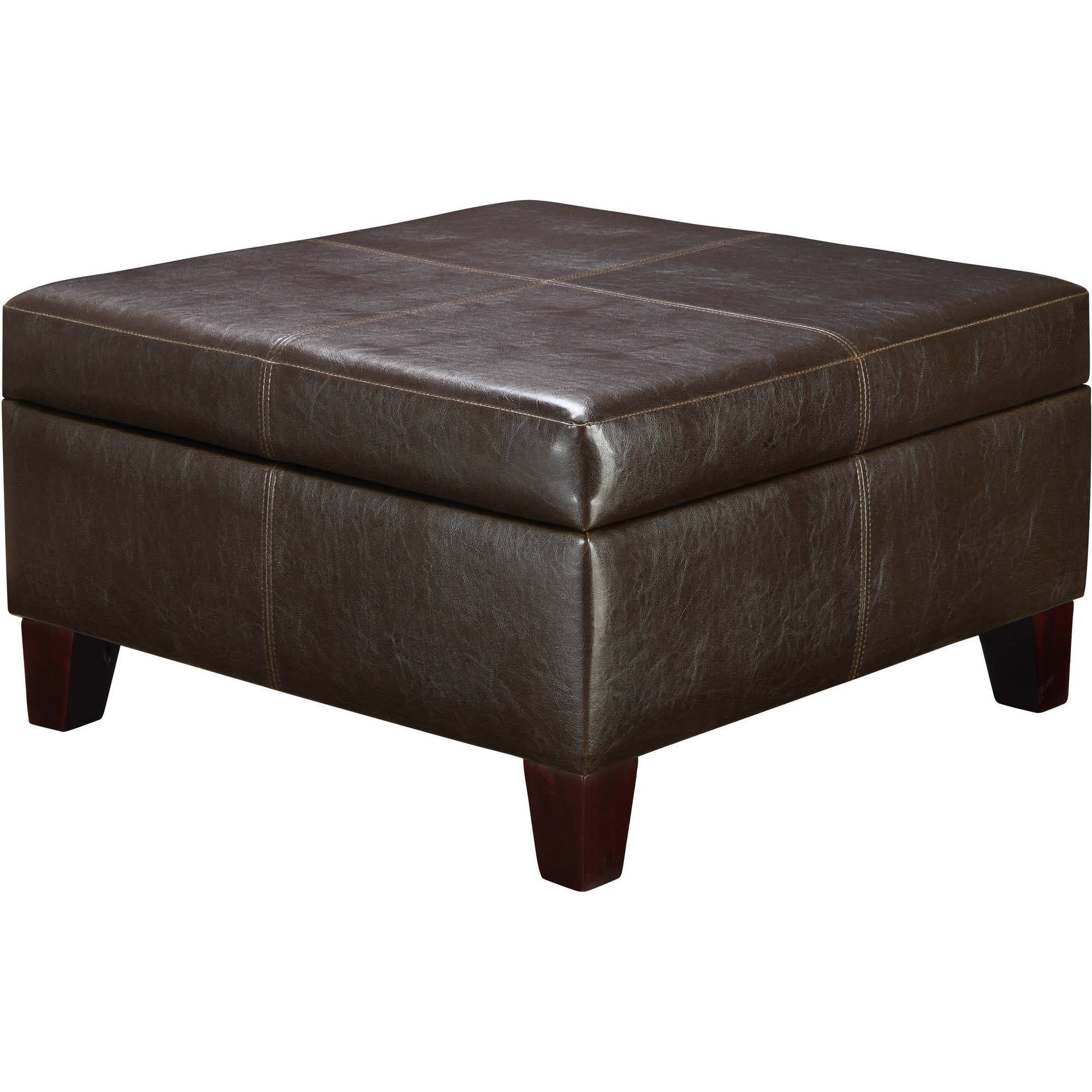 leather ottoman with underneath g round storage table ottomans coffee tables