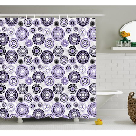 Purple And Black Shower Curtain Scattered Round Figures Big Small With Mandala Inspired Design