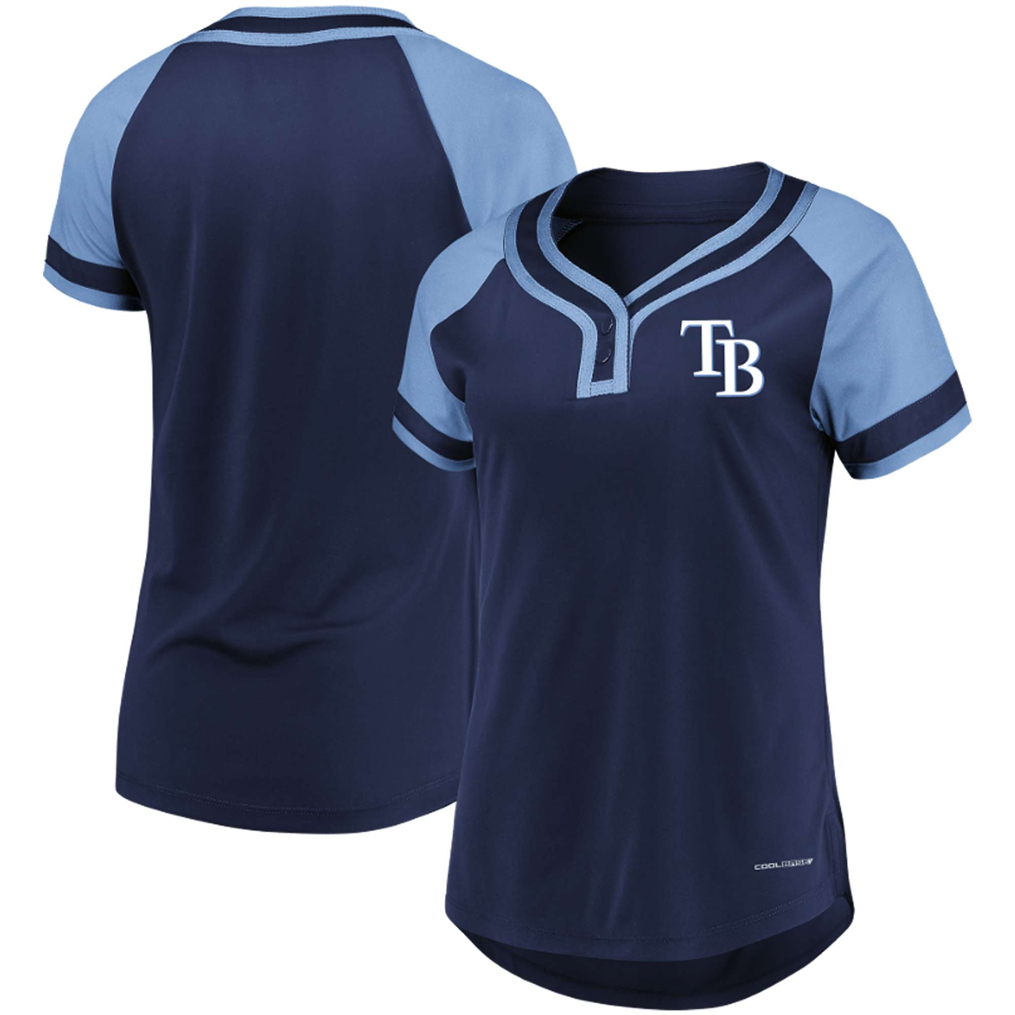 Tampa Bay Rays Majestic Women's League Diva Cool Base Henley Raglan T-Shirt - Navy