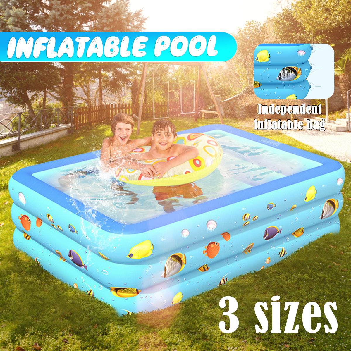 Inflatable Swimming Pool Family Kids Backyard Blow Up Pool ...