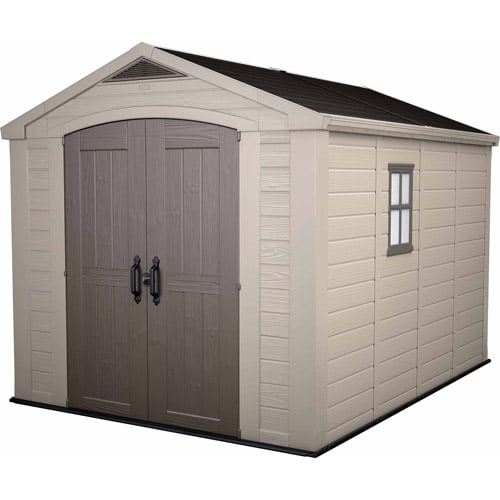 Keter Factor 8' x 11' Resin Storage Shed; All Weather Plastic Outdoor Storage, Beige Taupe by Keter