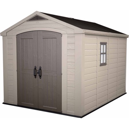 Keter Factor 8' x 11' Resin Storage Shed; All Weather Plastic Outdoor Storage, Beige/Taupe -  211203