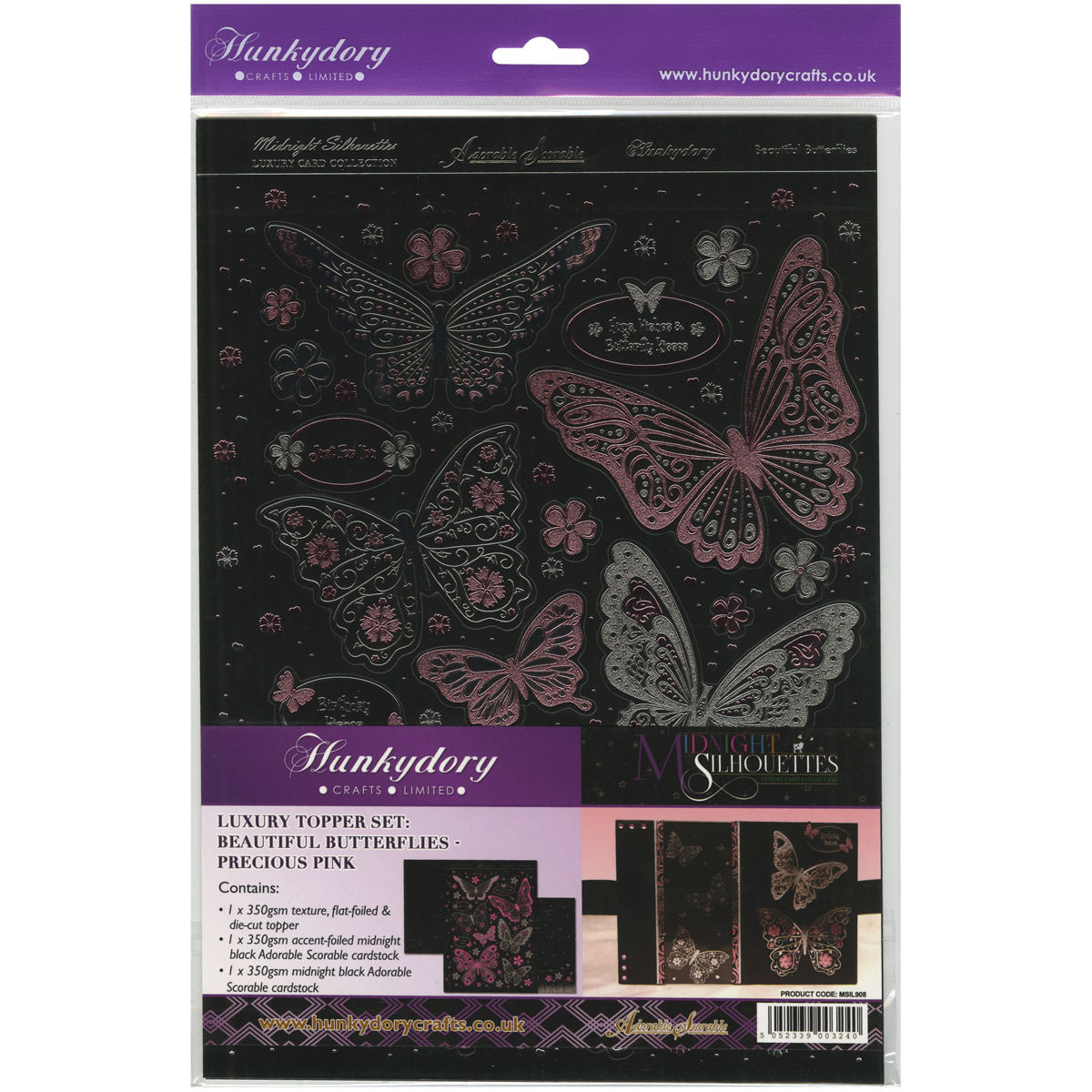 Hunkydory Crafts Midnight Silhouettes Adorable Scorable Luxury Topper Set A4Beautiful Butterflies/Precious Pink