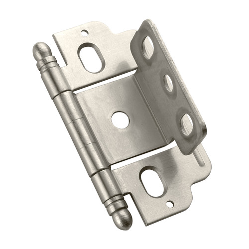 3/4 in (19 mm) Door Thickness Full Inset, Partial Wrap, Ball Tip Satin Nickel Hinge