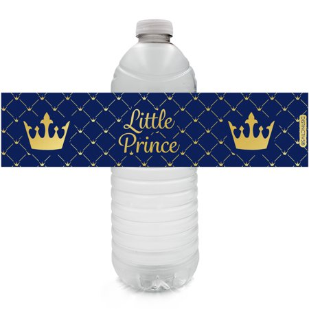 Gold Foil Prince Baby Shower Water Labels - 24ct Water Bottle Labels - Royal Blue Little Prince Baby Shower Decorations for Boy - 24 Count Stickers - Baby Shower Decorations Jungle Theme