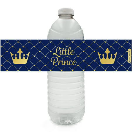 Gold Foil Prince Baby Shower Water Labels - 24ct Water Bottle Labels - Royal Blue Little Prince Baby Shower Decorations for Boy - 24 Count Stickers