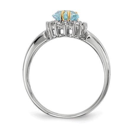 Sterling Silver Sterling Silver & Sky Blue Topaz & Diamond Ring - image 3 of 5
