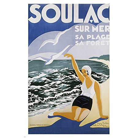 - Soulac France Vintage Tourism Travel Poster Oceanside Bathers Noted 24X36