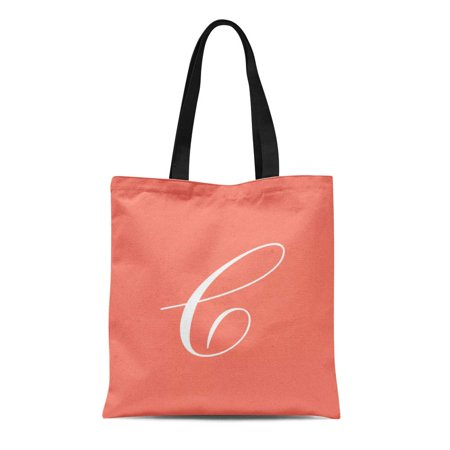 ASHLEIGH Canvas Tote Bag Caitlin Letter C Coral Cassandra Chelsea Christina Courtney Crystal Reusable Handbag Shoulder Grocery Shopping Bags - Coral Tote Bag