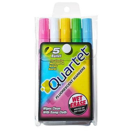 Glo-Write Fluorescent Markers, Wet-Erase, Assorted Colors, 5 Pack (5090), Fluorescent color, wet-erase markers By Quartet