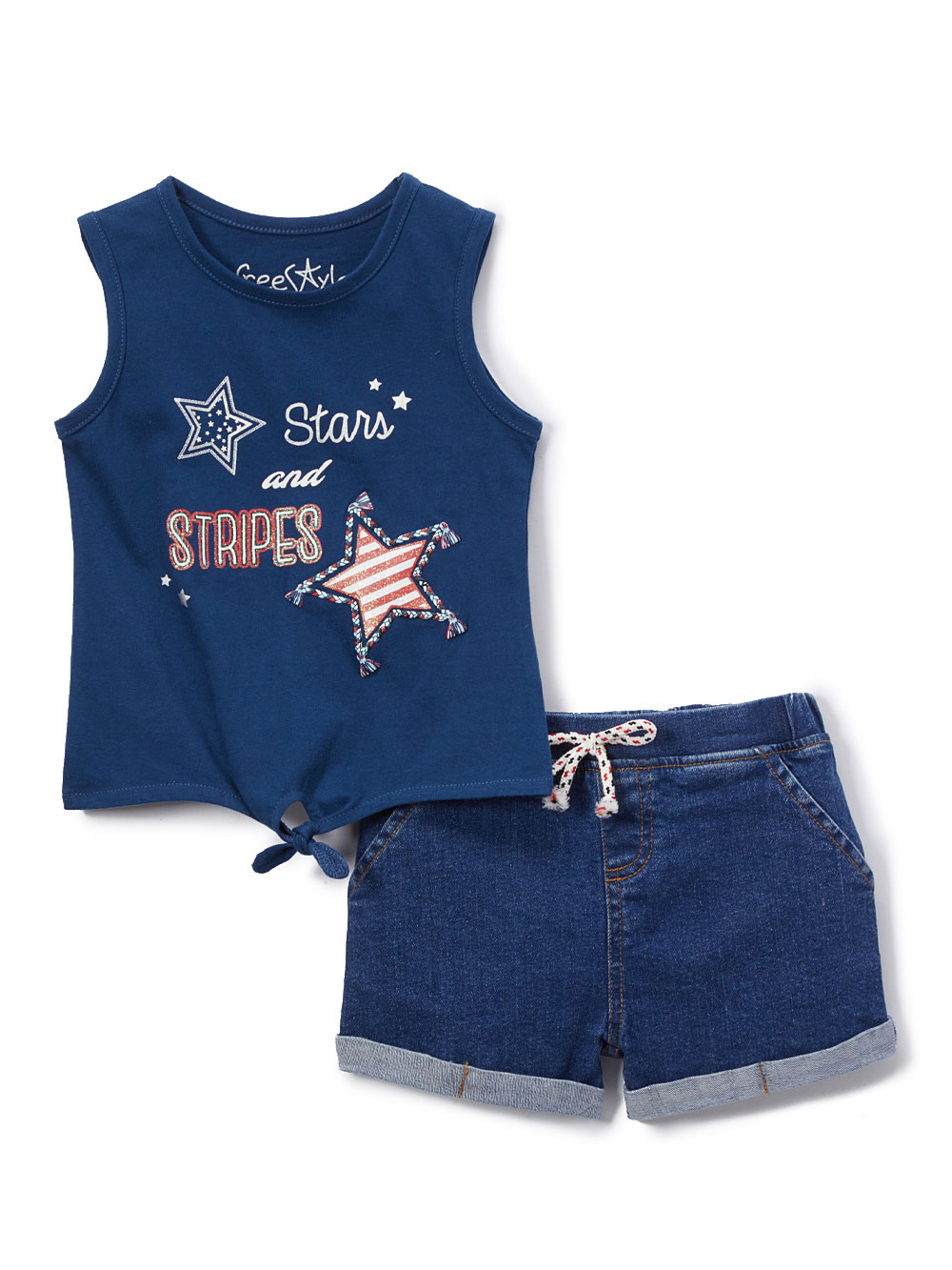 Graphic Tank Top and Denim Shorts, 2pc Outfit Set (Toddler Girls)