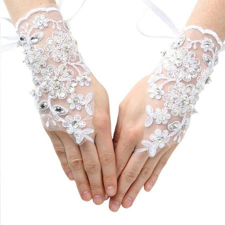 Girls White Rhinestone Sequin Fingerless Lace Communion Flower Girl Gloves