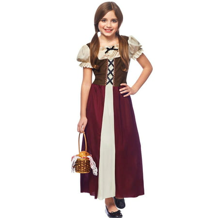 Franco Peasant Girl Childs Renaissance Halloween Costume Large (Small, Burgundy)](Funny Halloween Costume Ideas For Large Groups)