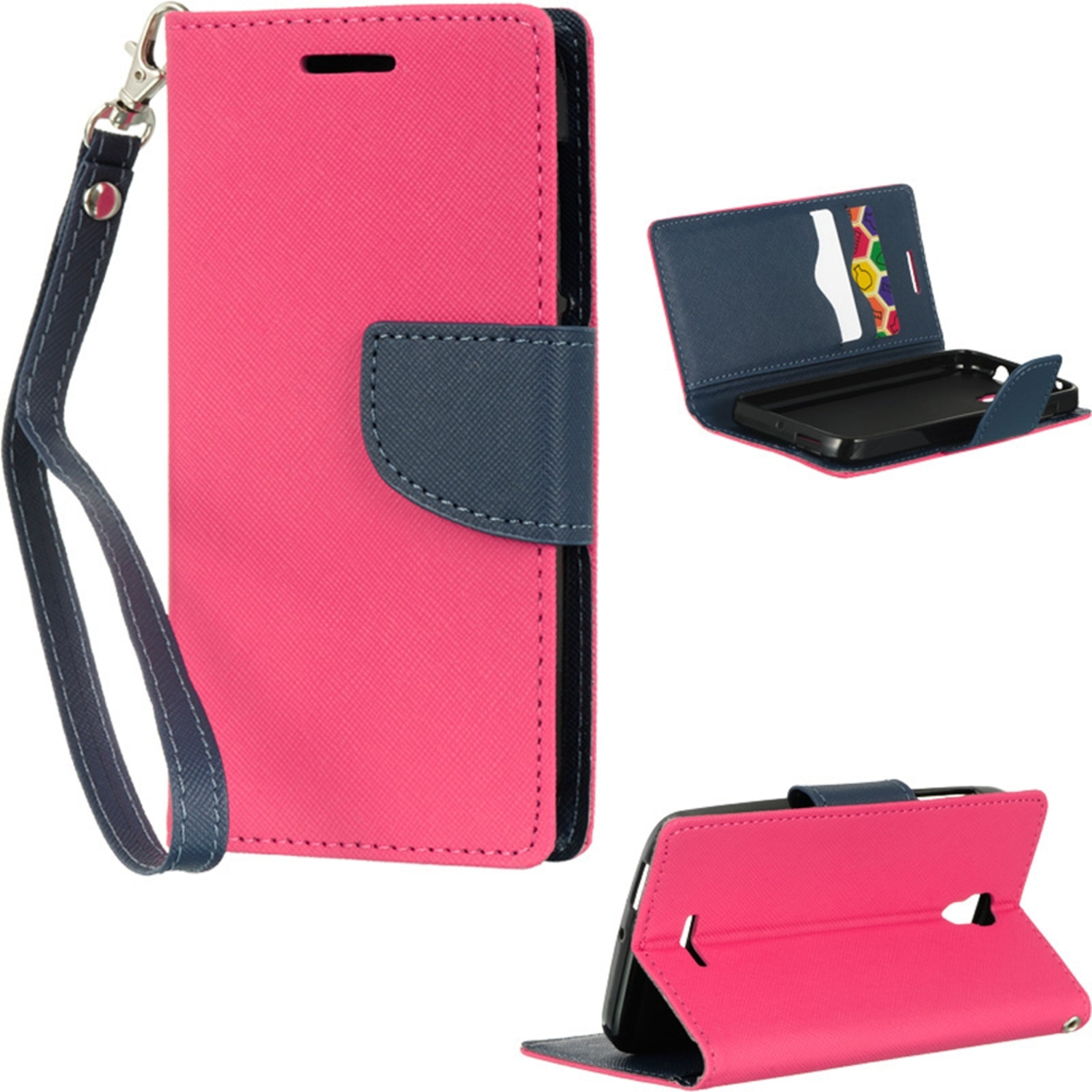 Insten Book-Style Leather Wallet Fabric Phone Case with Lanyard For Alcatel One Touch Pop Astro - Hot Pink/Blue