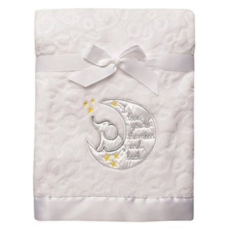 Biy Starters Sculpted Micro Velour Blanket with Satin Applique, I Love You to The Moon and (Velour Satin)