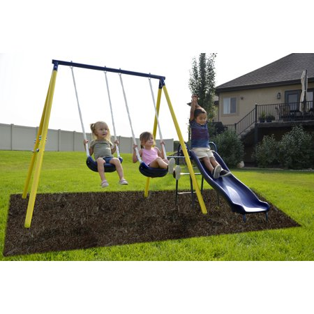 Classic Swing Set (Sportspower Power Play Time Metal Swing Set with 5ft Heavy Duty Slide and Two)
