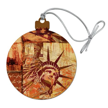 New York City Statue Liberty Tile Collage Wood Christmas Tree Holiday Ornament ()