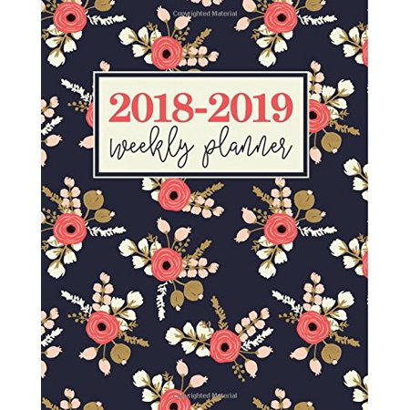 2018-2019 Weekly Planner: Modern Florals in Coral & Champagne on Navy Blue