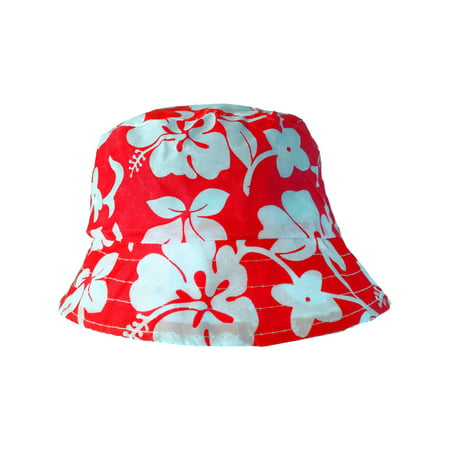 Red White Luau Hawaiian Flowers Power Hippy Costume Hibiscus Bucket Hat - Hawaian Costumes