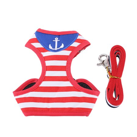 Dog Cat Harness with Leash Adjustable Outdoor Pet Harness Vest Jacket Red and White Navy Striped Sailor Anchor Style Best for Walking(L)
