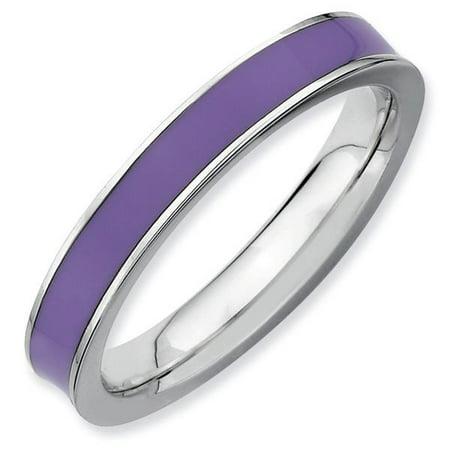 28bf7fa7d ProPiercing - Purple Enamel 3.25mm Band Sterling Silver Stackable Ring -  Walmart.com