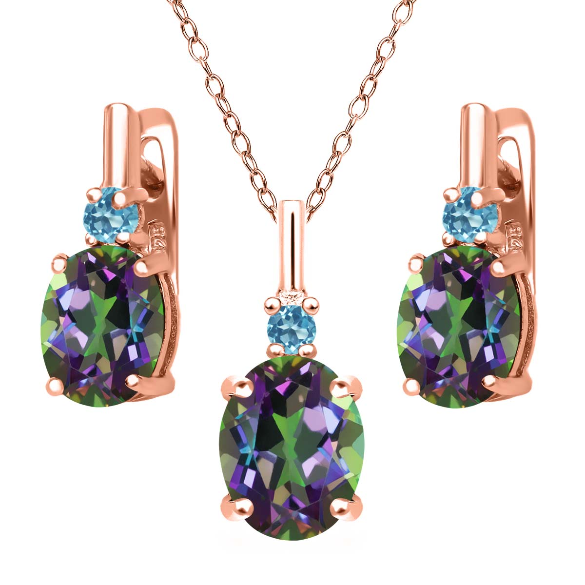 6.98 Ct Green Mystic Topaz 18K Rose Gold Plated Silver Pendant Earrings Set by