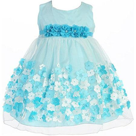 bc1658d6760 BNY Corner - Baby   Infant Flower Girl Dress Tulle Overlay Satin Dress Aqua  XS KD333 - Walmart.com