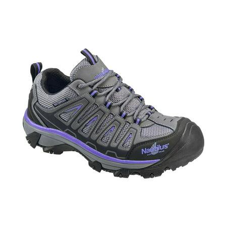 Nautilus Women's Grey And Purple Waterproof Low-Top Work Shoes Steel Toe -