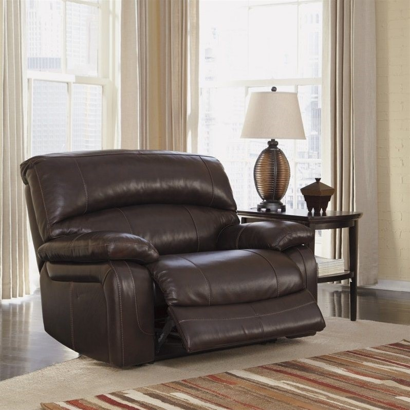 Ashley Furniture Damacio Leather Zero Wall Power Recliner In Brown