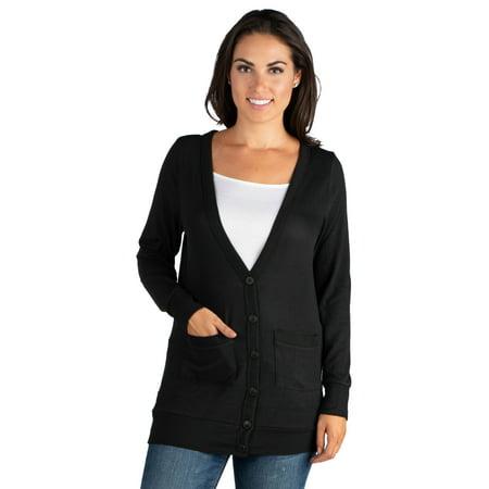 Women's Casual Comfort V-neck Pocket Cardigan ()