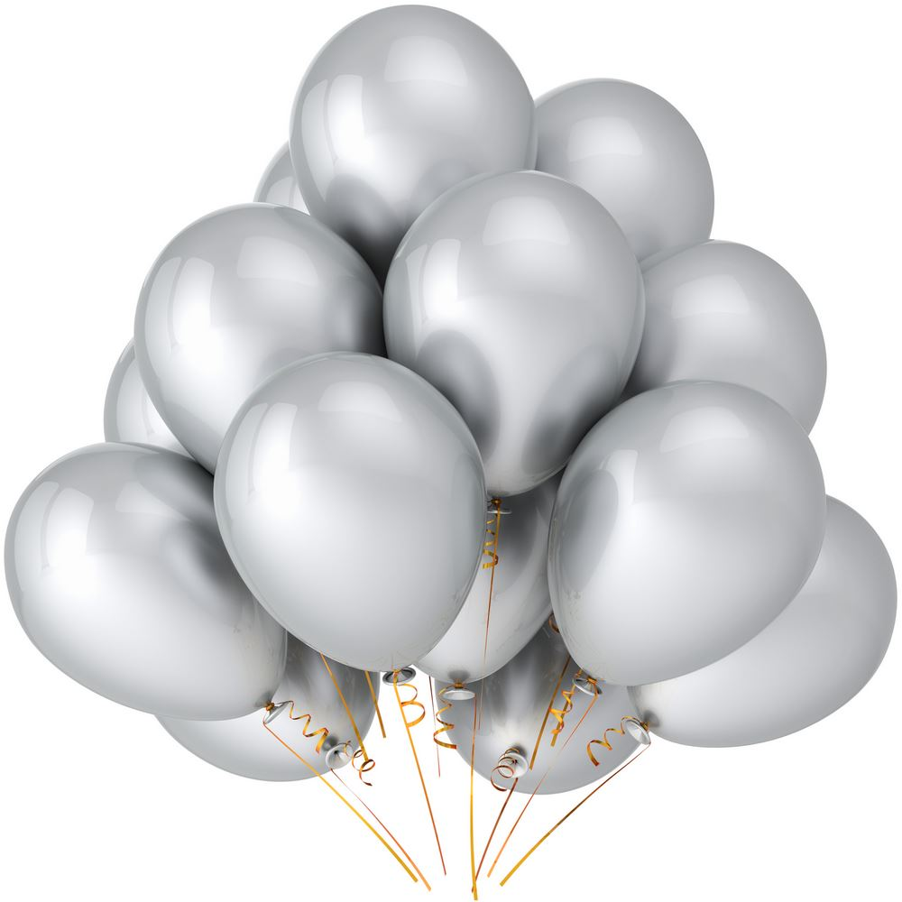 "50 pcs 12"" Metallic Silver Balloons Party Decoration birthday celebration"