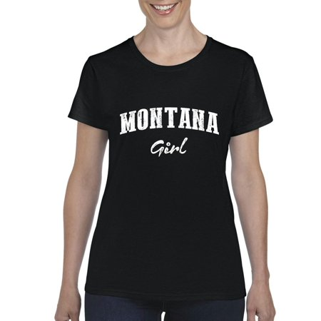 Mt Girl Montana Flag Billings Map Bobcats Grizzlies Home University Of Montana Womens T Shirt Tee Clothes