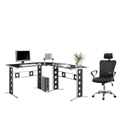 2 Piece Office Set with Chair and L Shape Computer Desk in - Fabric Computer Desk