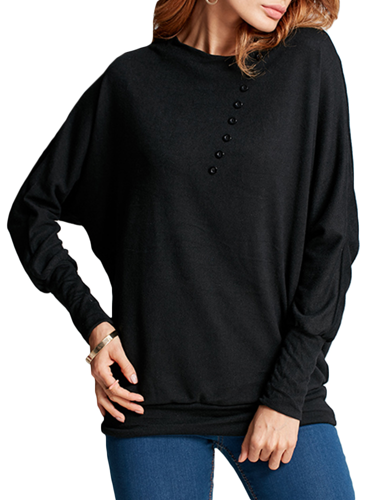 Women Fashion Batwing Long Sleeve Crew Neck Comfy Blouse