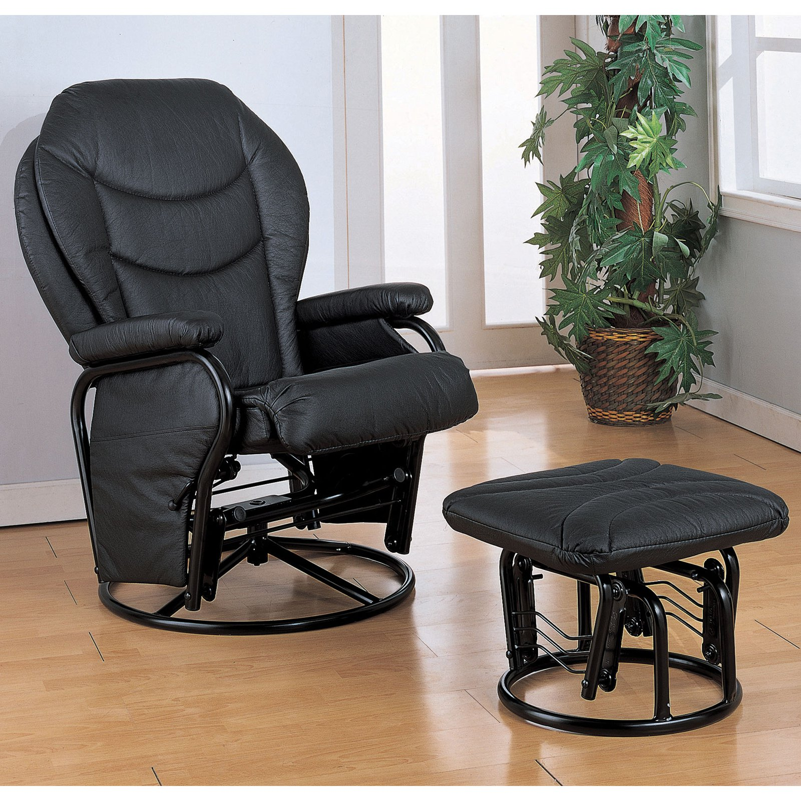 Coaster Leatherette Cushion Swivel Glider and Ottoman by Coaster Company