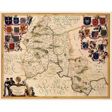 Old Great Britain Map Oxfordshire County England Jansson 1646